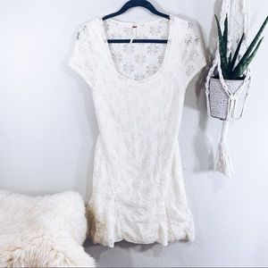 Free People Cream Lace Mini Dress M